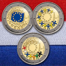 3 x 2 euros conmemorativa moneda coin Netherlands European Flag 2015 colored color