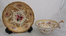 Chamberlain Worcester Cup Saucer Decorative British Porcelain Painted Flowers