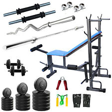 Fitfly home Gym Set With 50 kg Weight+ 8 in 1 bench 3ft Curl Rod 5ft Plain Rod