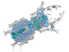 Sapphire Aquamarine Blue Crystal Rhinestone Beetle Bug Costume Lady Brooch