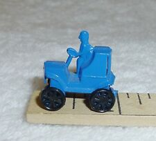 Vintage Painted Blue Metal Car & Driver, Wheels Spin, Gumball Toy Prize