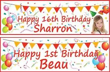 2 x PERSONALISED BANNER PARTY, BIRTHDAY PHOTO BALLOON - ANY EVENT AGE NAME 3ft