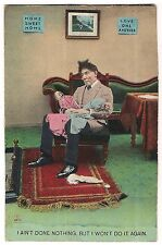 I AIN'T DONE NOTHING Sad Man 2 Babies Cry Humor Vintage Postcard 1910 Bamforth