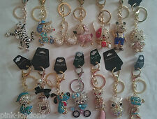 Wholesale joblot of 25 keyrings chain crystal bling bag purse charm assorted