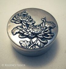 Finest Antique Chinese Export Solid Silver Chrysanthemum Box Wang Hing & Co 古董银器