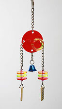 Medium Acrylic Hanging Dice & Rings Bird Toy With Chrome Chains & Hook 33 cm