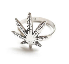 Balinese Sterling .925 Silver Cannabis Leaf Ring - Size Q½ (US 8½) 18.5mm