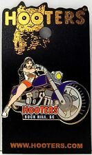 HOOTERS RESTAURANT BRUNETTE GIRL ON A PURPLE MOTORCYCLE BIKE PIN - ROCK HILL, SC