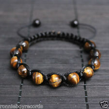 10mm Tiger's Eye Beads Black Shamballa Adjustable Bracelet Men Women Healing