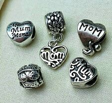 5PC Set MOM HEARTS Love Baby Children Family European Charms Mother's Day Gift