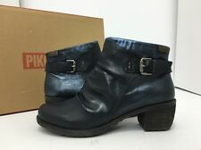 Pikolinos Le Mans Navy Blue Leather Women's Short Ankle Boots Size 37 / 6.5 - 7