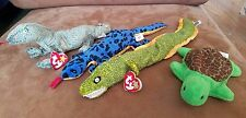 Beanie Babies Reptiles Lot of 4 TY Morrie Lizzy Scaly Speedy
