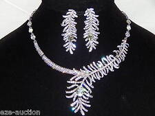 Pretty As A Peacock Clear,AB Iridescent Rhinestones Bridal Necklace,Earrings Set
