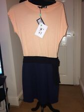 Moschino Dress Size 42 Uk 10 Bnwt £160 Coral Navy Black