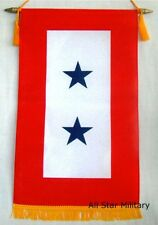 Two Blue Star Service Banner Window Flag US Military Mom Dad Patriotic Gift