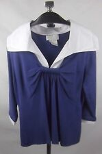 Soft Surroundings Knit Top Shirting Collar XL Purple Ruched Detail