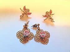 Pink Rose Dangle Gold Tone and Cupid  Pierced Fashion Earrings Jewelry lot