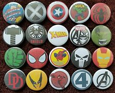 Marvel Hero's Button Badges x 20. Pins. Wholesale.  Collector.  Bargain :0)