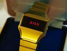 Vintage Swiss 5 Functions PRESIDENT LED Digital Quartz Watch 1970's Box Manual