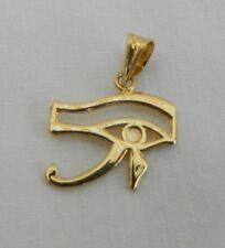 """Egyptian Eye Of Horus 18K Yellow Gold Pendant 0.9"""" #27"""