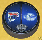 2013 CALDER CUP PLAYOFFS DUELING LOGO PUCK Springfield Falcons Syracuse Crunch