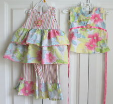 Baby Nay Sz 18 months 3 pc Lot Outfit Leggings 2 tops w/Stripes Ruffles Flowers