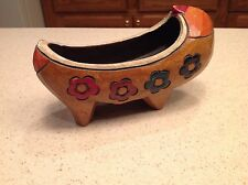 Hand Carved Hand Painted Wooden Boat Canoe Flowers green , Black , Maroon & Red
