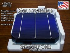 6x6 Whole Mono Solar Cells 4.3 Watts Grade A, Made in USA - 100pcs