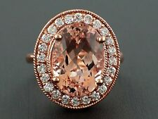 6.57ct Oval Morganite with Diamonds 14K Rose Gold Halo Cocktail Ring - Size 6.5
