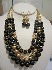 Three Layers Black Lucite Bead Gold Tone Bead Necklace Earring Set