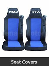 2 x IVECO STRALIS Seat Covers Tailored HGV Truck Lorry Black / Blue LHD