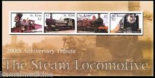 Trains, Steam Locomotives 200th Ann. , St Kitts 2004 MNH 4v SS  - T18