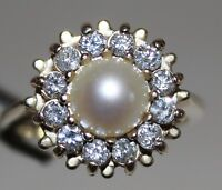 14k Yellow Gold Genuine Diamond and Cultured Pearl Women's Ring