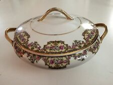 ANTIQUE LIMOGES 1 QT 2-HANDLED COVERED BOWL/DISH ~ Transfers & Hand painted