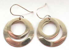 Beautiful 925 Sterling Silver Large Double Circle Hoop Pair Ear Rings Hook Drop