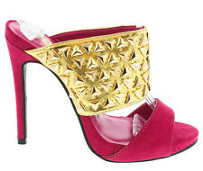 Pink Nude Suede Gold Studded Open toe Sandal High heel Women's Shoes Athena