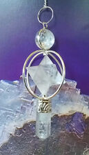 GENUINE CLEAR QUARTZ CRYSTAL SPINNING MERKABA DOWSING PENDULUM, SACRED GEOMETRY