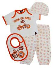 Harley-Davidson Baby Boys' 4 Piece Boxed Gift Set, Top, Pant, Hat, Bib 0352472