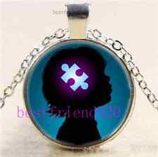 Take Care Of Autism Kid Cabochon Glass Tibet Silver Chain Pendant Necklace