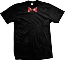 Polka Dot White And Red Bowtie  Mens T-shirt