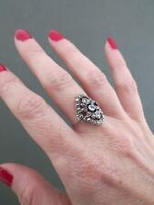 Vintage Art Deco Marcasite Topaz Silver Ring