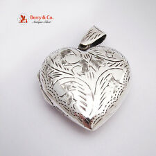 Attractive Heart Form Engraved Scroll Locket Pendant Sterling Silver