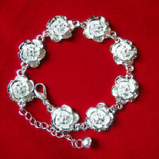 1Pc Women Elegant Bracelet Flower Rose Silver Plated Bracelet Bangle Jewelry