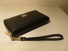 NWT Michael Kors Black Leather Multifunction Phone Case Wristlet Wallet MK Logo