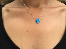 Hamsa Opal Necklace,Opal Hand Necklace,Sterling Silver,Luck Charm,Blue