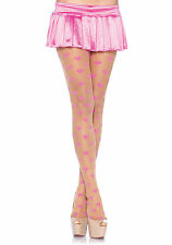 Be Mine Spandex Sheer Tights Woven Hearts Pink Nude Leg Avenue LA-7918 One Size