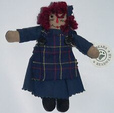 "Boyds Bear Raggedy Ann Primitive mini doll blue dress apron miniature 5.5"" tag"