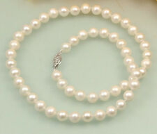 Hot New 7-8mm White Cultured Fresh Water Akoya Pearl Necklace 18''