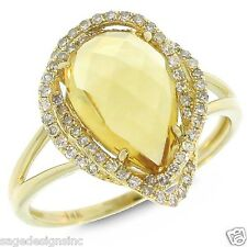 3.23 TCW 14K Yellow Gold Pear Cut Citrine & Diamond Cocktail Ring