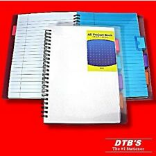 A5 PROJECT BOOK 4 DIVIDERS SPIRAL/WIRE BOUND 200 PAGES NOTEPAD SCHOOL NOTEBOOK